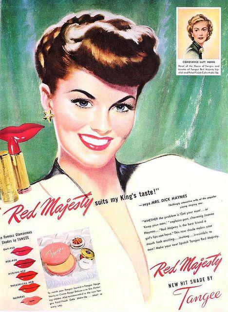 Tangee Lipstick-annons, maj 1947. vintage # 1940-talet #makeup # skönhet.