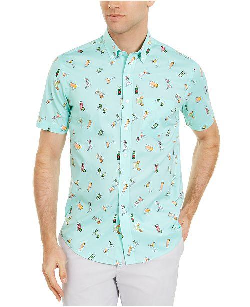 Club Room kortärmad skjorta för herrar för män, skapad för.