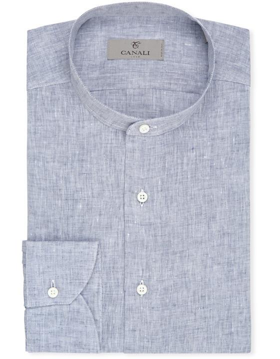 Blå ren linneskjorta med mandarinkrage |  Canali.c