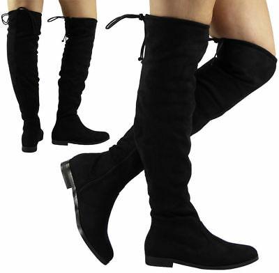 Kvinnors knähöga stövlar damer lång vinter mode avslappnad låg klack.