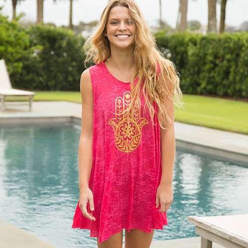 Hamsa Hand Pink Beach Dress - Du kan aldrig ha för många beach.