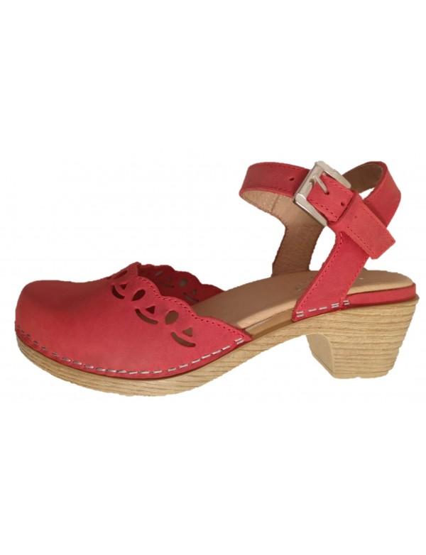 Träskor för damer |  Italienska modeskor |  Red Leath