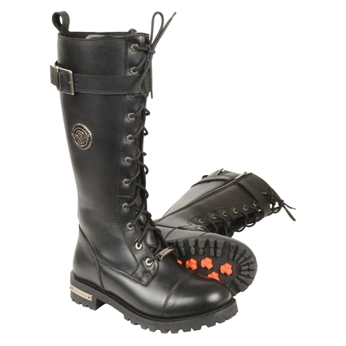 Milwaukee Leather Ladies Tall Lace-Up Motorcycle Boo
