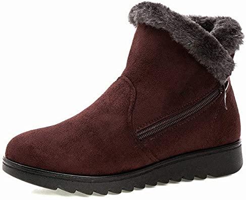Amazon.com    Kvinnor Vinterstövlar Slip Ankle Boots Damskor Flock.