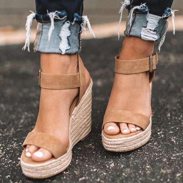 Kvinnor sommar kil sandaler ankelrem öppen tå plattform klackar.