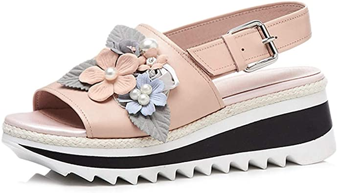 Amazon.com |  Ko läder kil sandaler Kvinnor Sweet Flower Pearl.
