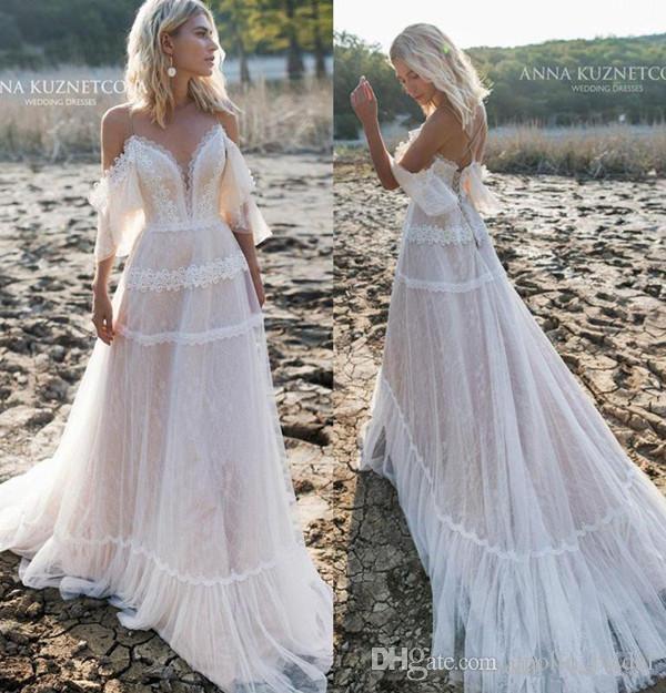 Rabatt 2020 Vintage Beach Bröllopsklänningar A Line Off Shoulder.