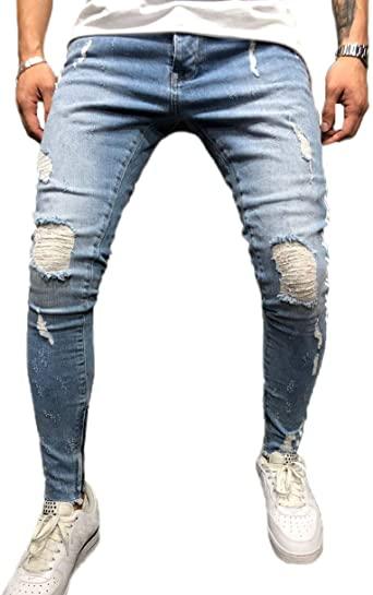 FUOE Mäns avslappnad distressed rippade förstörda jeans Slim Fit.