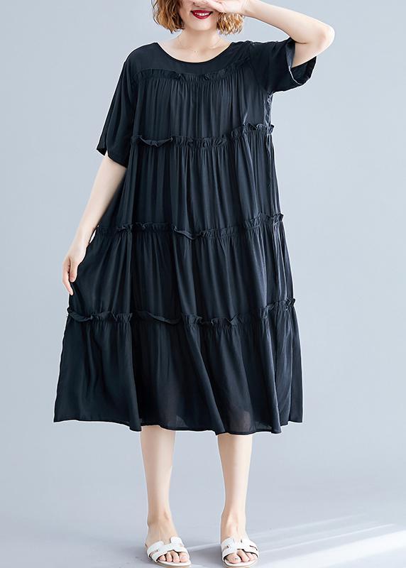Moderna svart bomulls tunikor o rynkig Maxi sommarklänning.