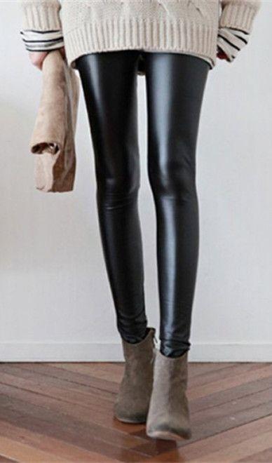 Snygg elastisk midja bantning Bodycon PU läder dam leggings.