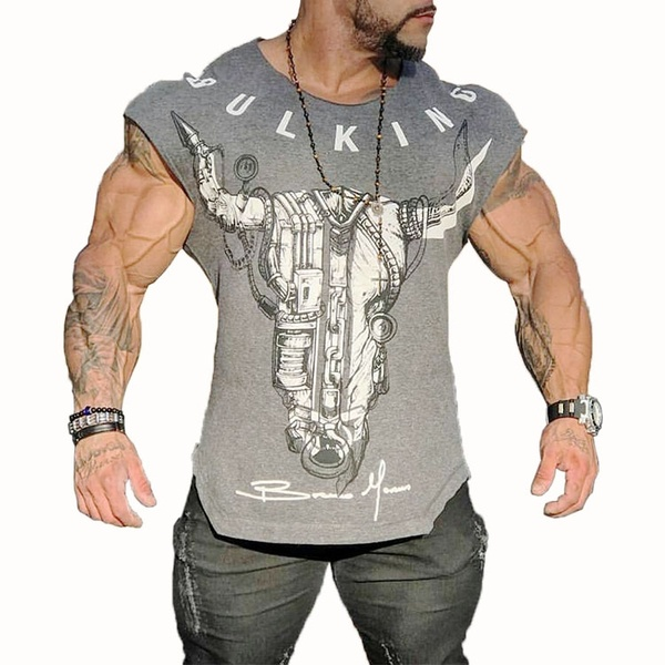Bodybuilding Mens Tanks Muscle Shirts Gym T-shirt Fitness Workout.