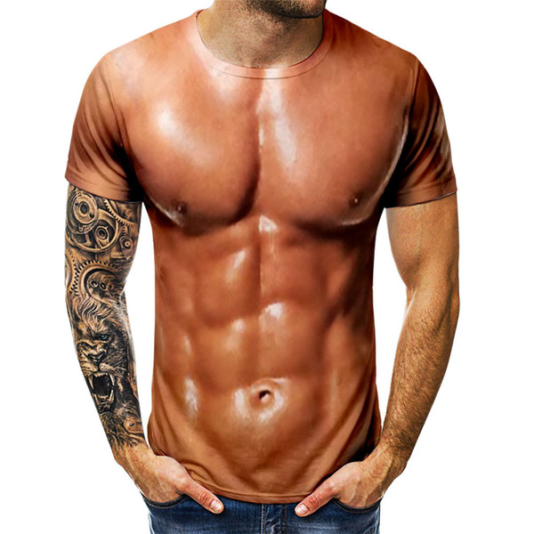 Mens T-shirt Sommar Rolig kropp Muscle T-shirt Camisetas Hombre 3D.