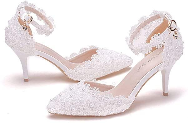 Amazon.com    Kvinnor högklackade sandaler vita spetsar pärlor bröllop.