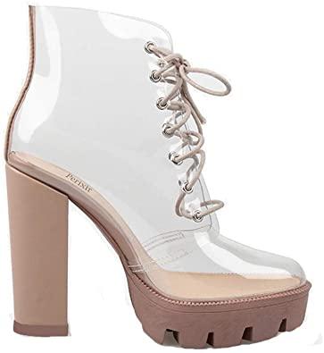 Amazon.com: perixir Peep Toe Ankel Sandaler Stövlar Transparent: Sho