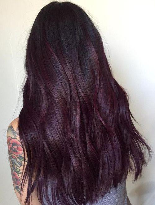Deep Violet Plum Hair Color Trends för 2018 Dam.