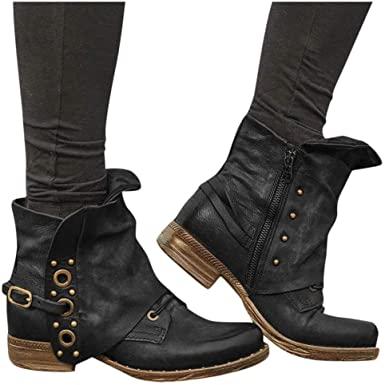 Amazon.com: Dainzuy Kvinnor PU läder dragkedja ankel stövlar vattentät.