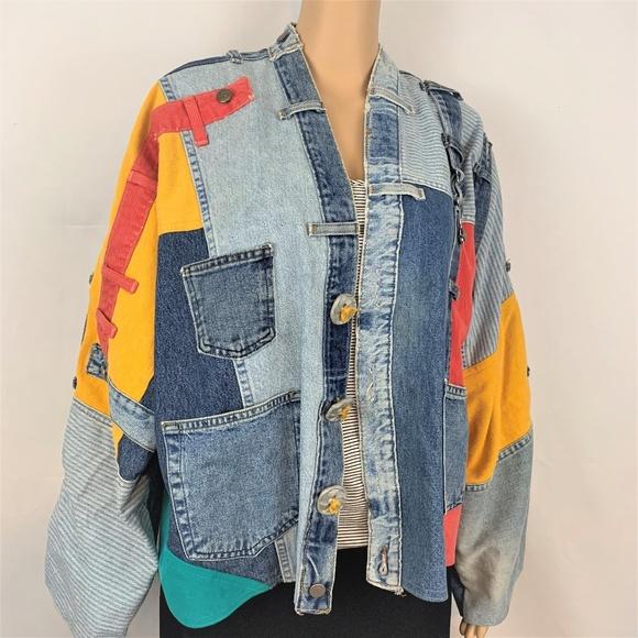 Sarah Martin Jackor & rockar |  Vintage 90-tal patchwork färgglada Jean.