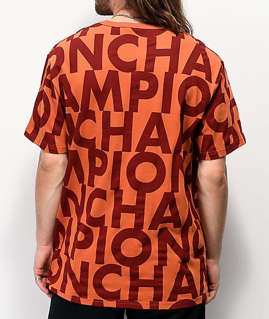 Champion Allover Print Block Text Orange T-shirt    Zumi