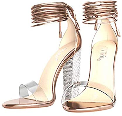 Amazon.com |  LALA IKAI Rose Gold Clear Block Heels Sandaler för.