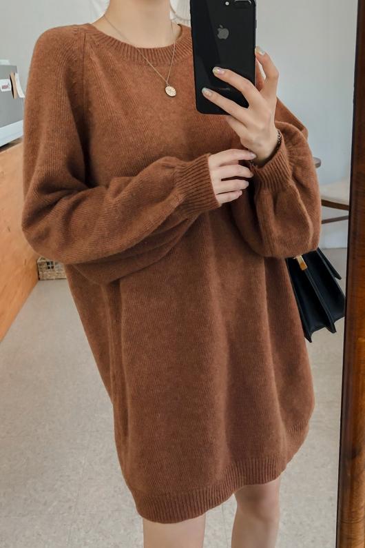 Bruna tröjor Klänningar Loose fit Kläder Kvinnors söta Casu