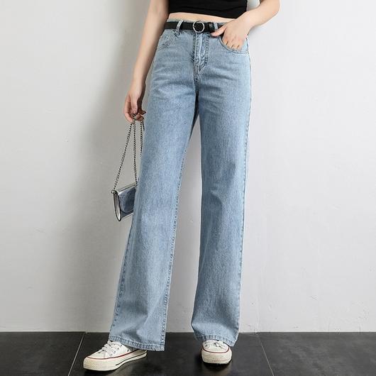 Wide Leg Jeans Dam High Street Fashion Denim Blue Byxor 2019.