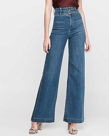 Super High Waisted Stretch Wide Leg Jeans |  Expre