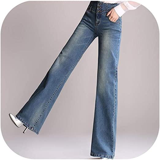 High Waist Wide Leg Jeans Dambyxor Loose Jeans i full längd.