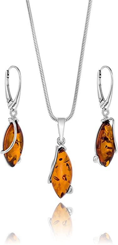 Amazon.com: Copal Ladies Amber Smycken set Silver 925 Drop.