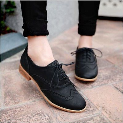 Brogue Kvinnor snörning Wing Tip Oxford College Style Flat Mode.