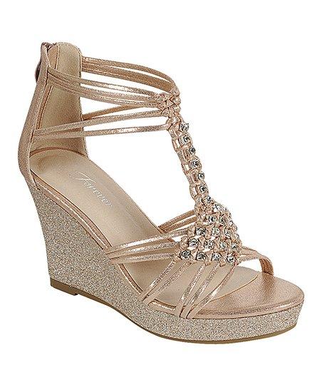Rose Gold Glitter Woven Diamond Hapyy Wedge Sandal - Dam    Bäst.