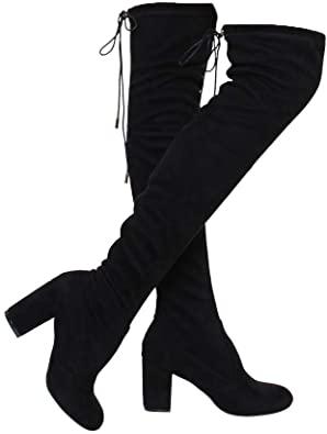 Amazon.com |  ShoBeautiful kvinnors lårhöga stövlar stretchiga över.