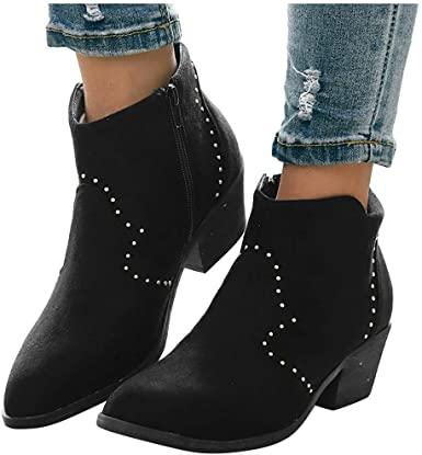 Amazon.com: Mid Heel Suede Ankle Boots för kvinnor - Kvinnors tjocka.