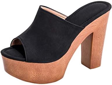 Amazon.com: Oldlover✚ Heeled Mules för kvinnor Open Toe.