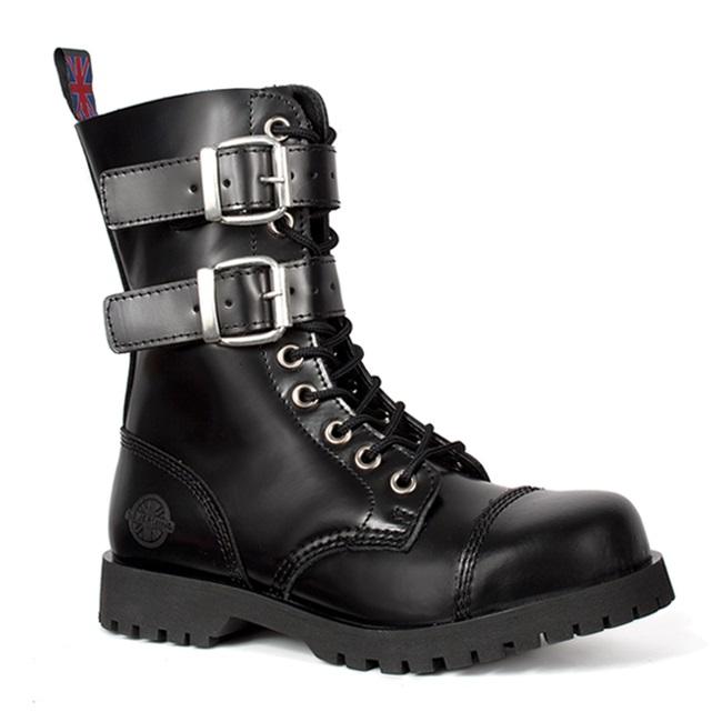 Svart läder 2-Buckle 10-Eye Combat Boots från Nevermind.