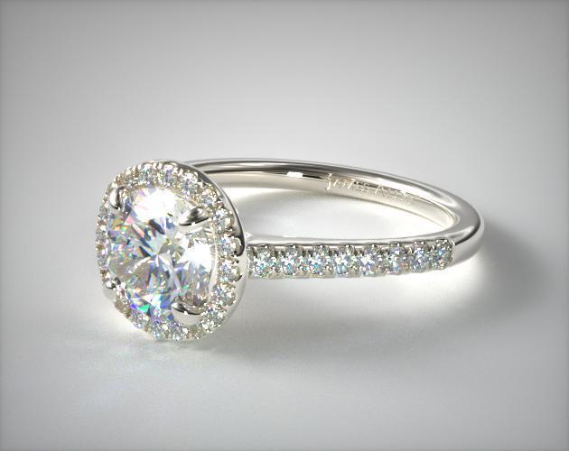 Pave Halo och Shank Diamond förlovningsring (rund)    14K.