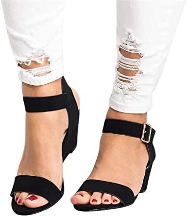 Amazon.com: Sandaler för kvinnor med låg klack, Chunky Heel Sandal.