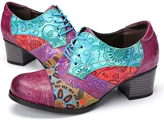 Amazon.com    gracosy läderpumpar för kvinnor, läder Oxford klänning.