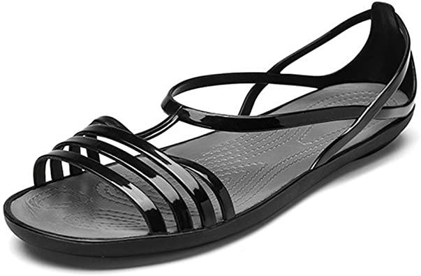 Amazon.com |  Kvinnors färgglada neongelé sandaler klar sommar.