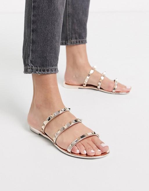 Public Desire Cosmic dubbade platta gelé sandaler i rosaguld |  SOM