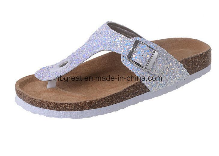 Kina billiga bekväma glitter mode sandaler damer glitter.