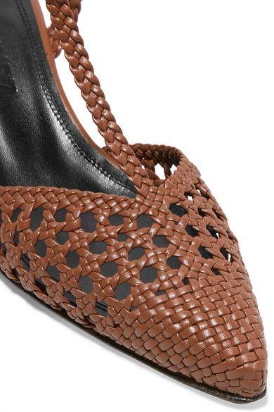 Tan Flamenco vävda läderpumpar av metall    Souliers Martinez.