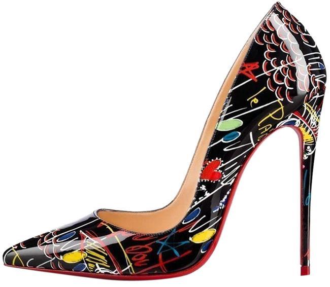 Christian Louboutin Black / Flamenco Graffiti So Kate 120 Patent.