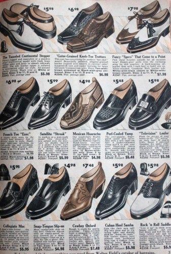 Allt om män 1950-talet Skor Stilar |  1950-talets skor, 1950-talets mode.