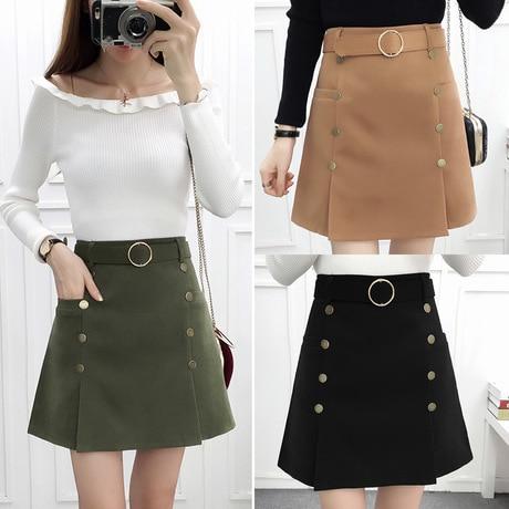 Köp A word kjol kvinnlig hög midja kjol bälte kort kjol svart.