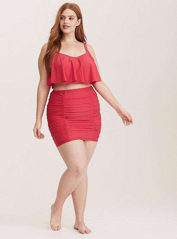 Plusstorlek - Rynkad kjol med hög midja och badbyxor - med kort - Torr