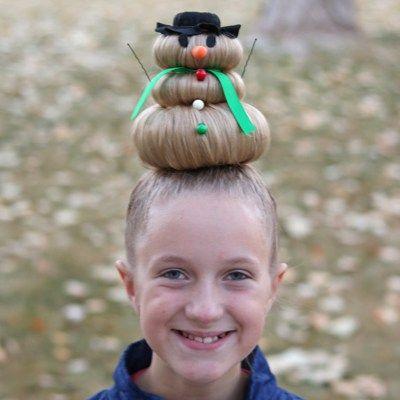 Snögubbefrisyr för Crazy Hair Day (eller jul)    Galen hår.
