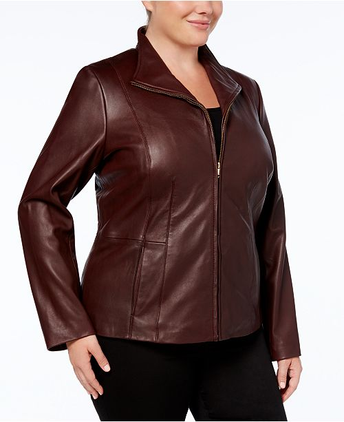 Cole Haan Plus storlek läderjacka & recensioner - Kappor - Kvinnor - Macy