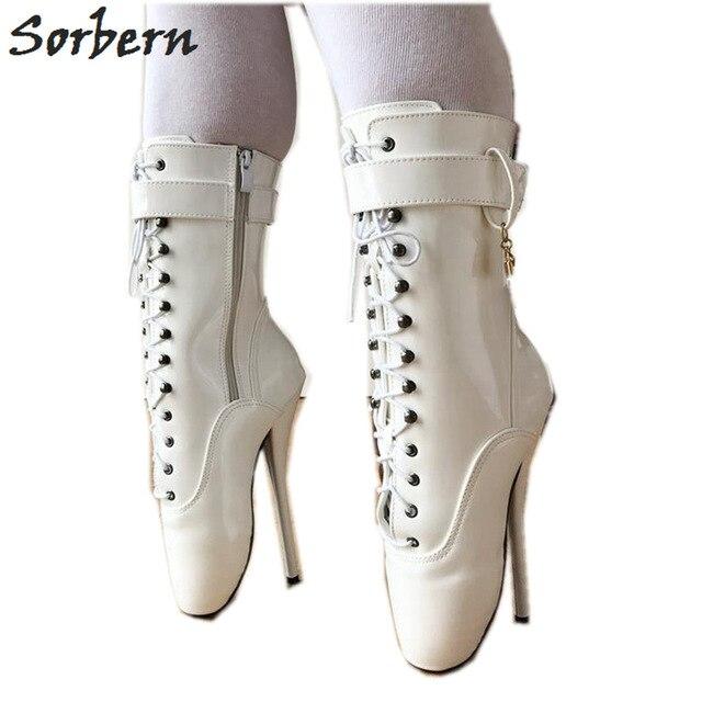 Sorbern Ankel Booties Balettklackar för kvinnor Sm Fetish High Heel.