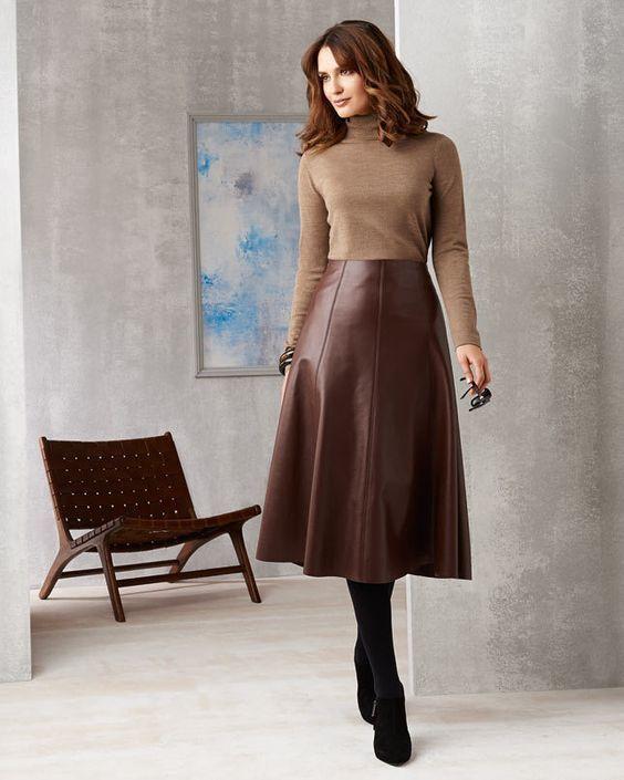 Flared brun läder midikjol |  Brun läder kjol, brun.