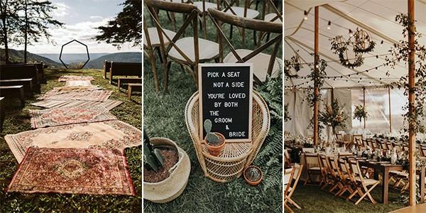 20 bohemiska bröllopsdekorationsidéer för att inspirera din stora dag.
